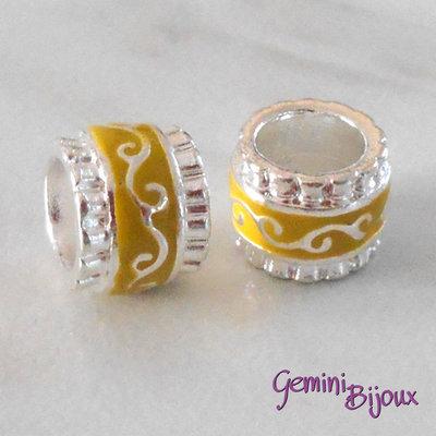 Perla in alluminio smaltata a foro largo, 11x9, silver giallo