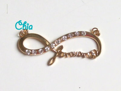 1 connettore forever strass bianchi 45x15mm