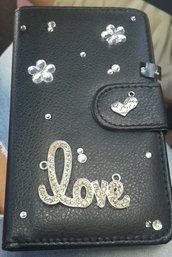 Cover decorata nera strass fiori love cuore Samsung galaxy s4