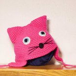 Cappellino a forma di gatto realizzato in lana acrilica creato sia per neonato che per bambino ragazzo e adulto simpatica idea regalo natale