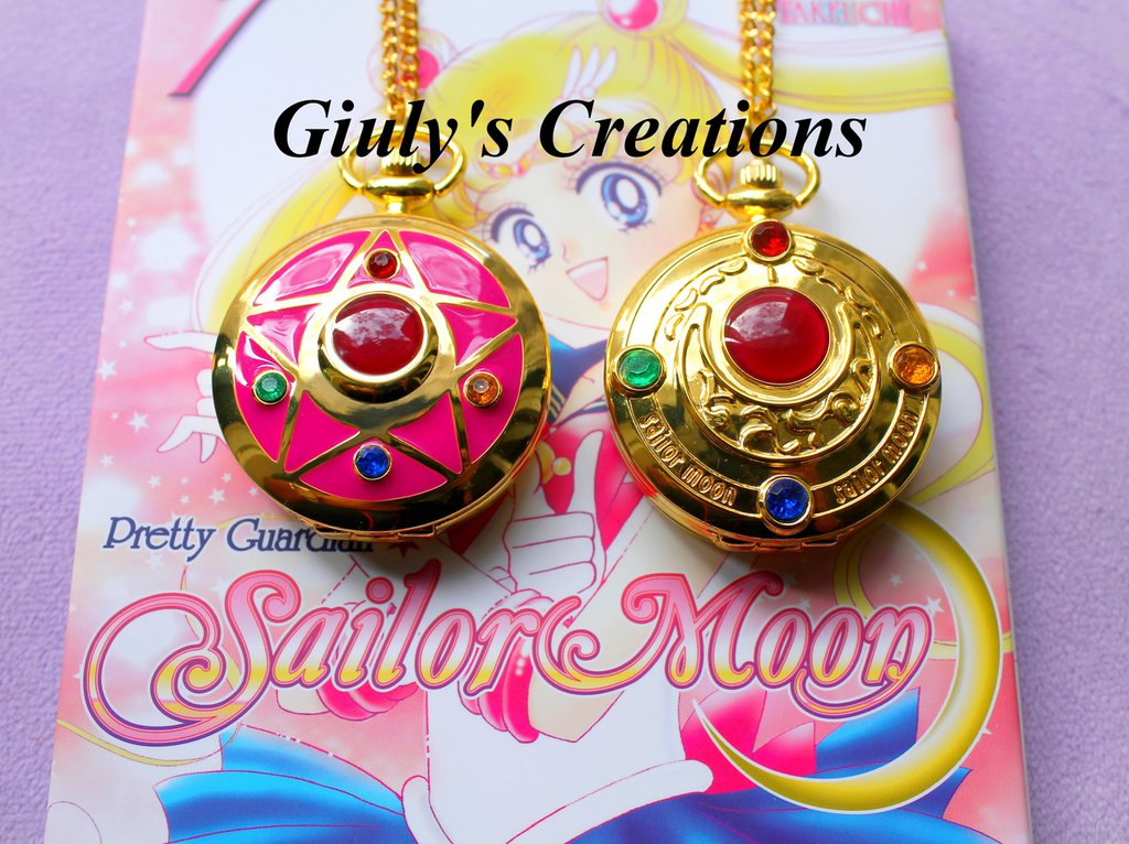 Collana orologio funzionante SAILOR MOON cristallo d'argento Prisma Lunare Anime Manga Bunny