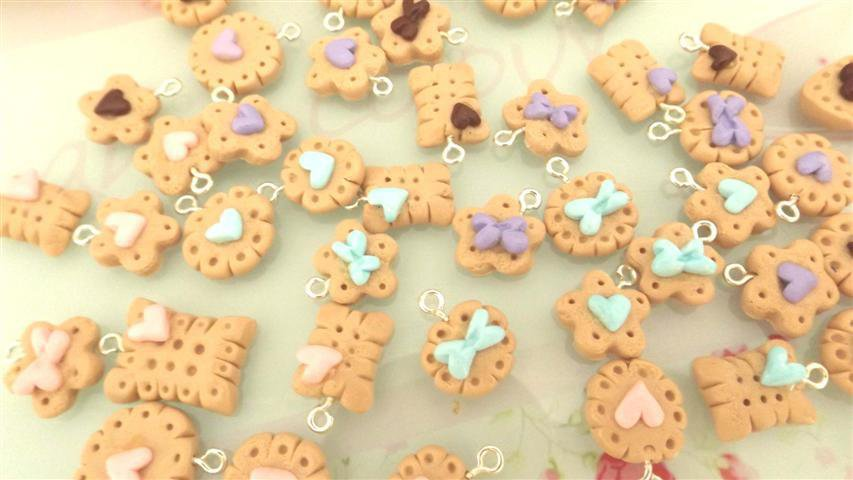 NOVITA LOTTO OFFERTA STOCK - fimo - 10 BISCOTTINI kawaii - per collane orecchini braccialetti
