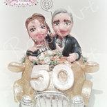 """Cake topper anniversario di matrimonio """"Coppia d'oro – vers. 2"""" (personalizzabile)"""