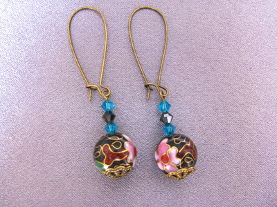 Japanese style dangle earrings with flower and Swarovski crystal