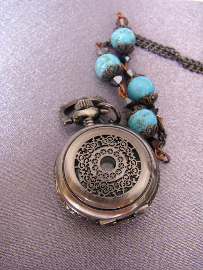 Filigree vintage watch locket necklace with turquoise stone and Swarovski big crystals