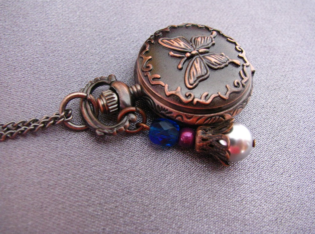 Unique Butterfly Pocket Quartz Watch Necklace with Jade and agate Stones