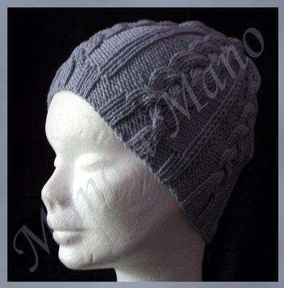 Cappello cuffia con trecce - Grigio