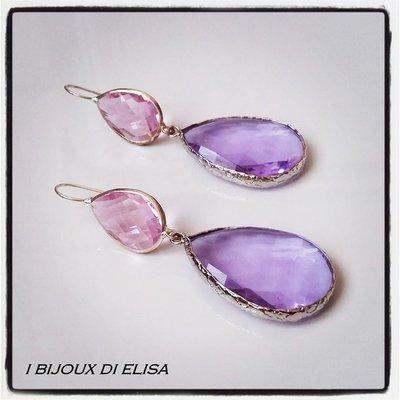 Orecchini con cristalli rosa e lilla