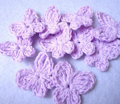 10 pz - applicazioni uncinetto FARFALLA lilla handmade