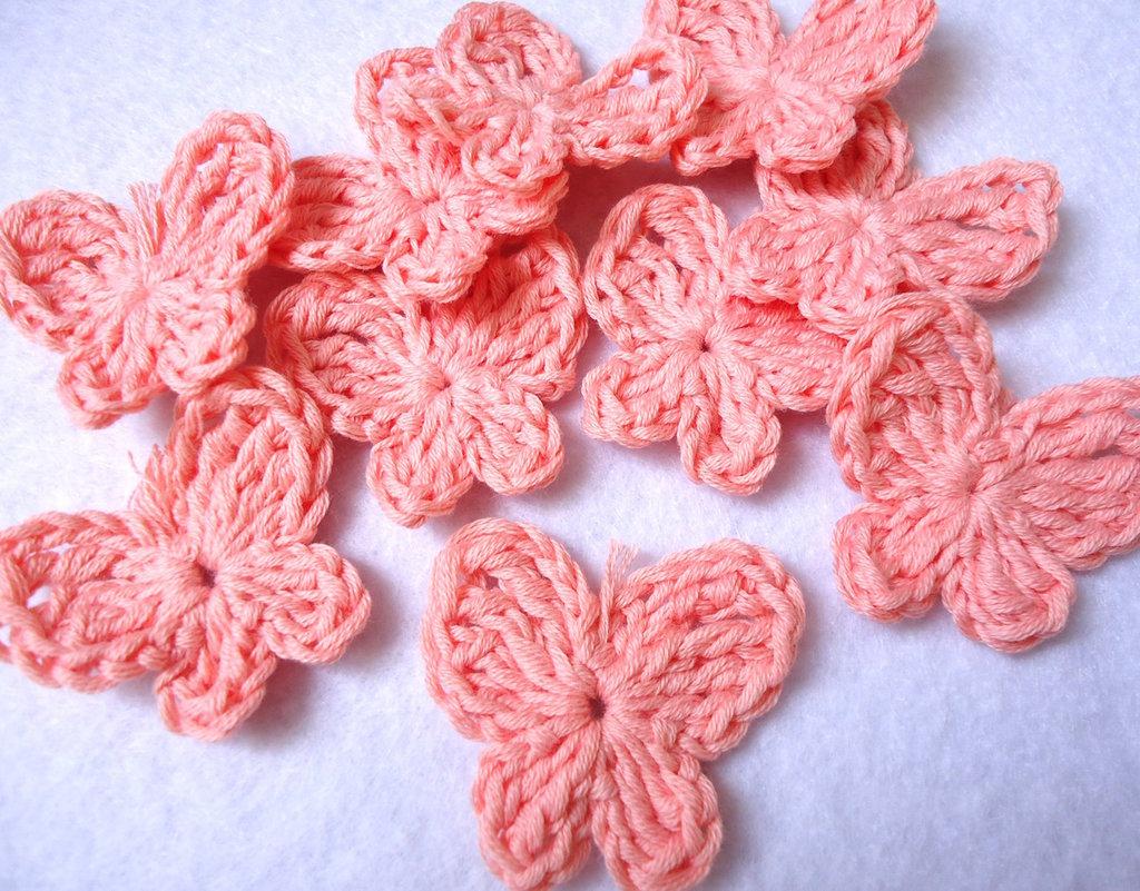 10 pz - applicazioni uncinetto FARFALLA arancio pastello handmade