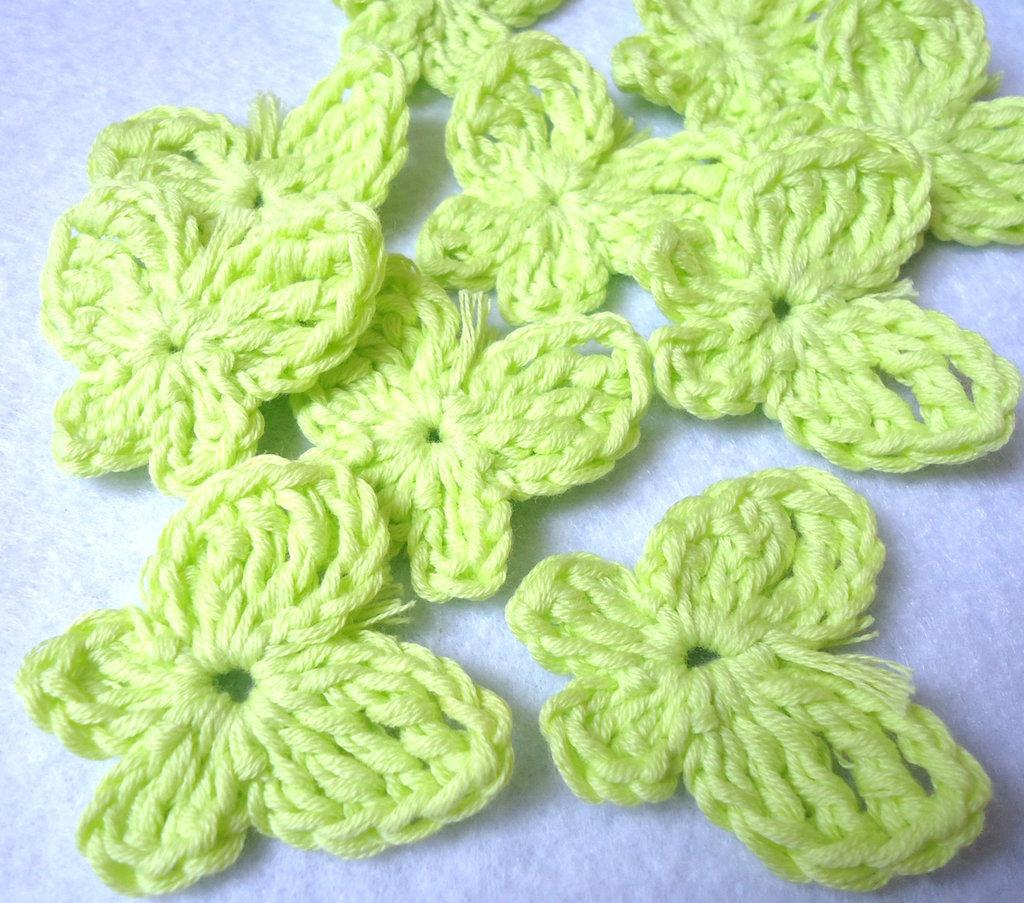 10 pz - applicazioni uncinetto FARFALLA verde chiaro handmade