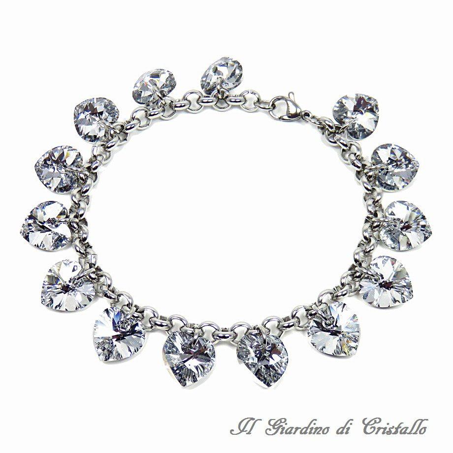 Bracciale acciaio e cuori cristallo Swarovski argento fatto a mano 18,5 cm - Narciso