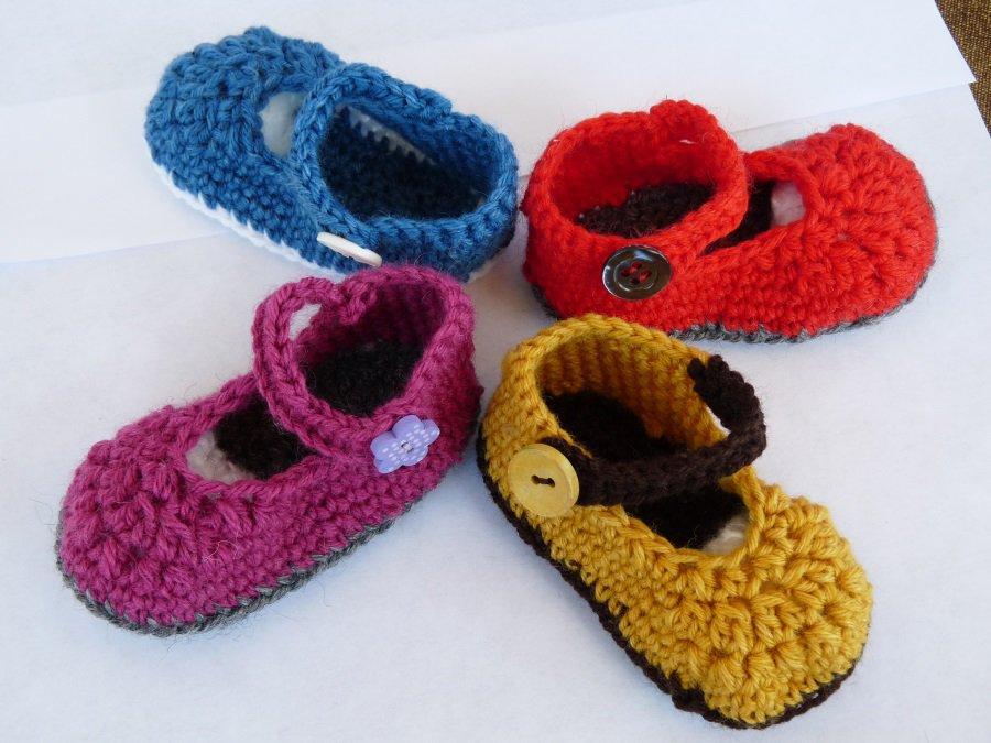 Scarpine neonato in lana fatte a mano
