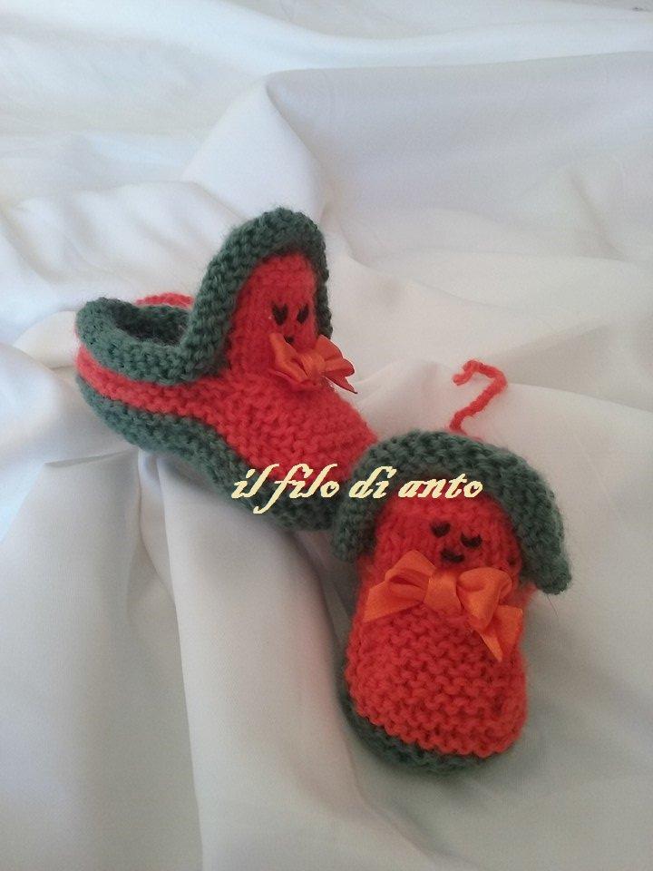 Scarpine bimbo/bimba  in arancione e verde