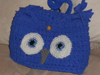Zainetto per la scuola e l'asilo a forma di gufo blu