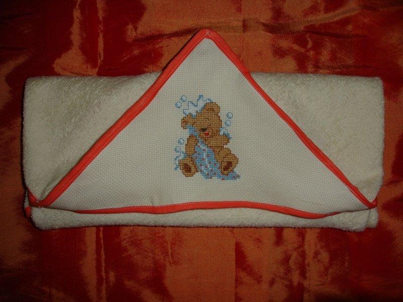 Accappatoio quadrato spugna a cappuccio con orsetto