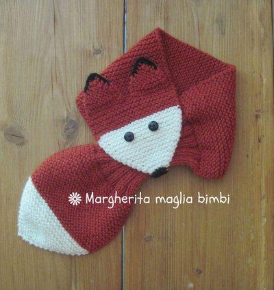 Sciarpa volpina bimbo fatta a mano in lana e alpaca - idea regalo!