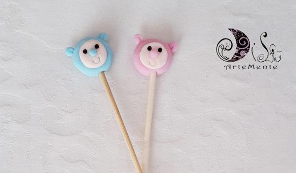 Spiedini di caramelle decorati per caramellate soggetti personalizzabili cartoni