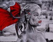 Ritratto Daenerys Targaryen con drago il trono di spade acrilico moderno