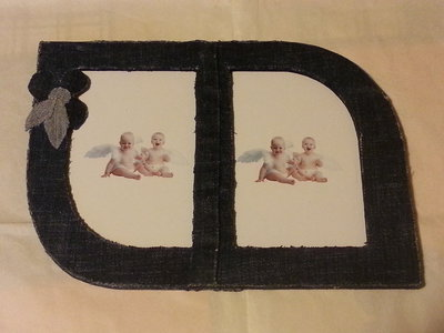 cornice di jeans con doppia foto