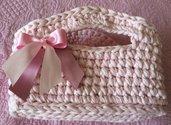 Cestino fettuccia rosa confetto