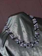 Collana opale dendritico tormalina argento 925