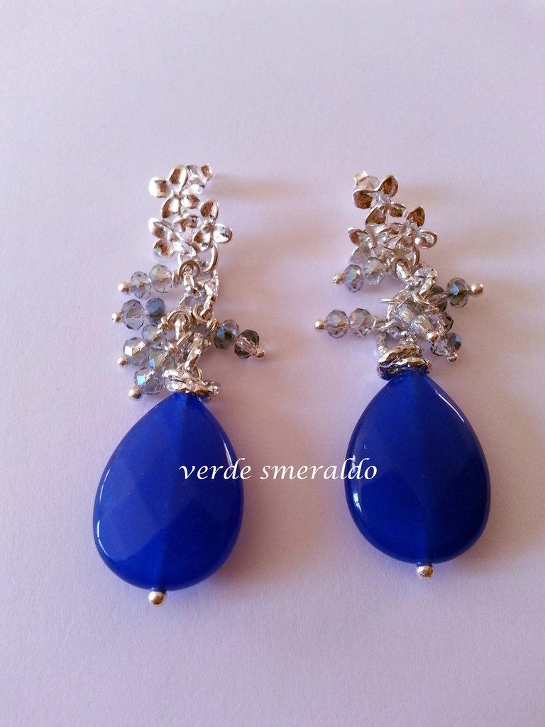 Orecchini pendenti con perno al lobo in argento 925 e agata blu.