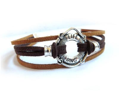 Bracciale Nautico salvagente pelle braccialetto marinaio SILVER corda