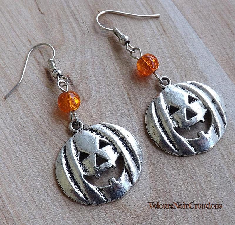 Orecchini zucca halloween in argento tibetano