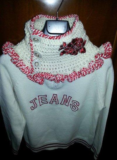 scald acollo uncinetto lana rosso e bianco