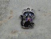 1 charm gattino smalto con strass