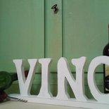 """Scritta decorativa """"VINO """" in legno bianco shabby"""