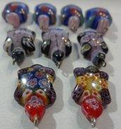 9 perline vetro Millefiori TARTARUGHE