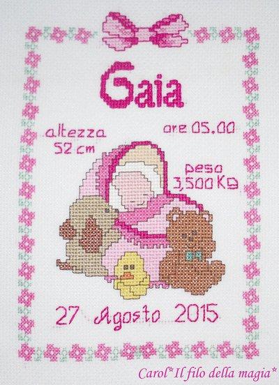 """Quadretto nascita - fiocco nascita - """"Culletta"""" -punto croce- B41"""