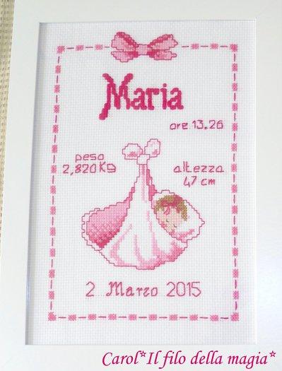 Quadretto nascita - fiocco nascita - BIMBA FAGOTTINO -punto croce- B59