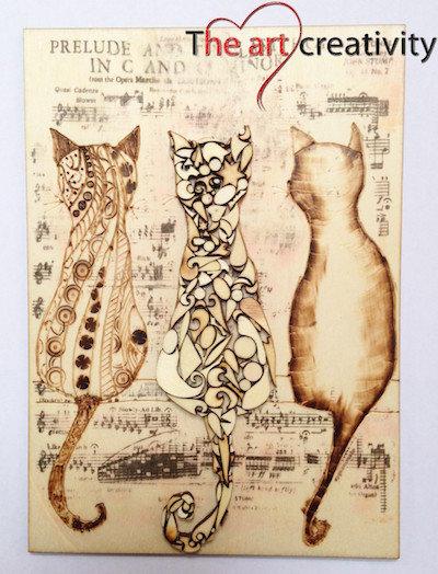 """Kit per pirografia  """"I 3 gatti""""_completo"""