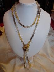Collana argento 925 quarzo citrino quarzo fumé Gold Filled 14kt