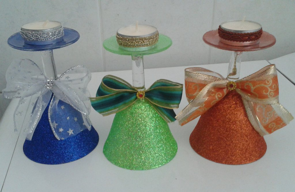 Bicchiere porta candela a forma di campana, in vetro