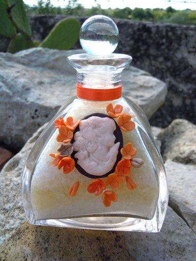 Giara in vetro con sali da bagno aI FIOR DI PESCO e decoro in fimo