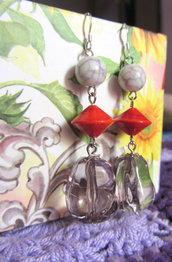 Orecchini pendenti con vetro di Murano rosso