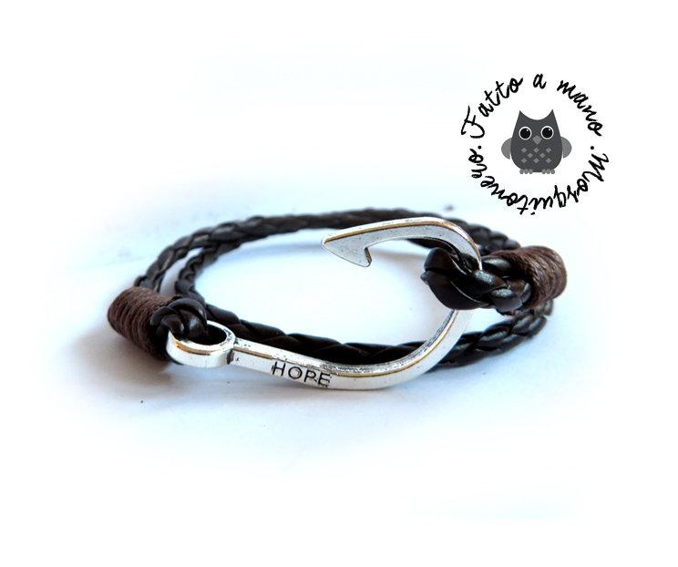 Bracciale UNCINO AMO da pesca nautico cuoio braccialetto uomo marinaio Hook SILVER