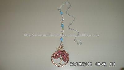 Segnalibro wire con pendente albero della vita, perline dome sw e di cristallo  sfaccettato  e mezzi cristalli