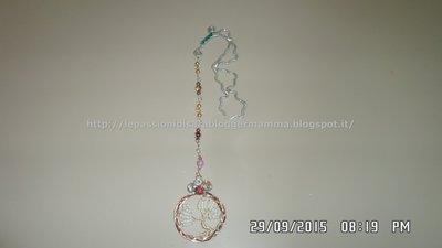 Segnalibro wire con pendente albero della vita, perline in vetro di B. e bicono di  cristallo SW, dome di cristallo SW