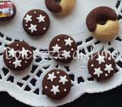 lotto da 5 pz biscotto pan di stelle 1,5 cm in fimo fatti a mano per orecchini, bracciali