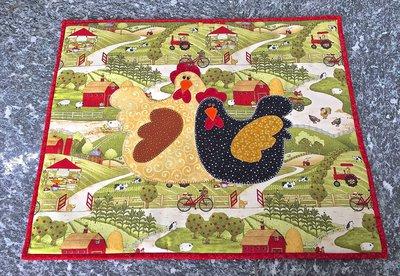 copri piano cottura in stoffa con galline in appliquè