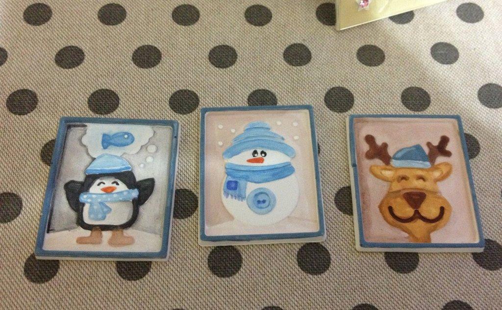 Addobbi natalizi in gesso ceramico profumato chiudipacco segnaposto calamite