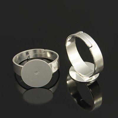 base anello regolabile in ottone color argento