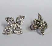 Paris je t'aime ...flower strass vintage earrings