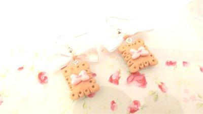 PAIO ORECCHINI FIMO  - BISCOTTINI con fiocchetto rosa - dimensione classica - stile kawaii - idea regalo