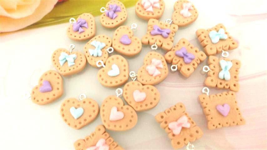 NOVITA  LOTTO STOCK  - fimo - 6  BISCOTTINI kawaii - per collane orecchini braccialetti Forma a CUORE e CLASSICA